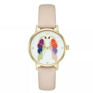 NWT Kate Spade Metro Parrot Pink Leather  Watch